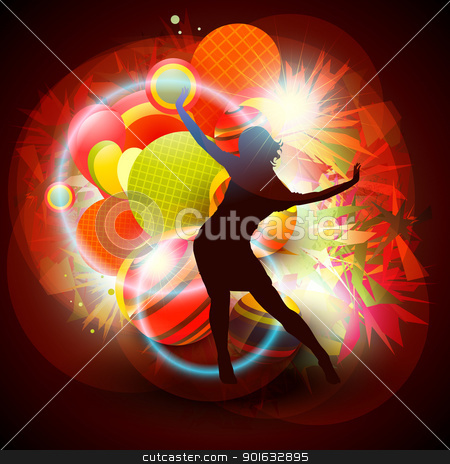 vector background stock vector clipart, vector background of dancing girl by pinnacleanimates