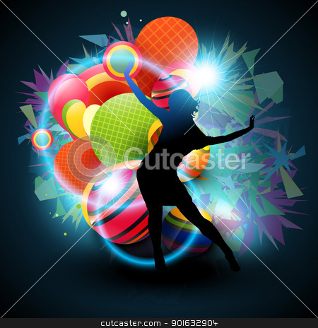 dance vector stock vector clipart, vector background of dancing girl by pinnacleanimates