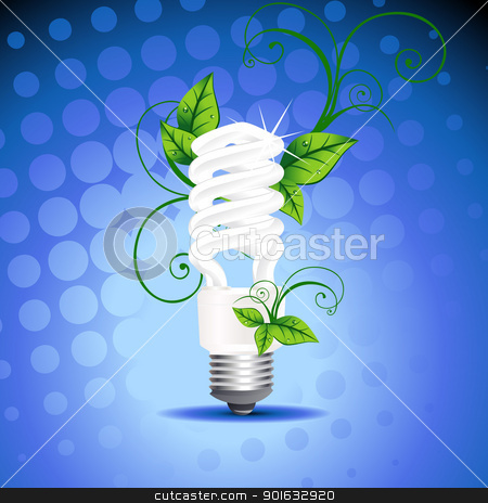 vector CFL design stock vector clipart, vector CFL design with leafs around it by pinnacleanimates