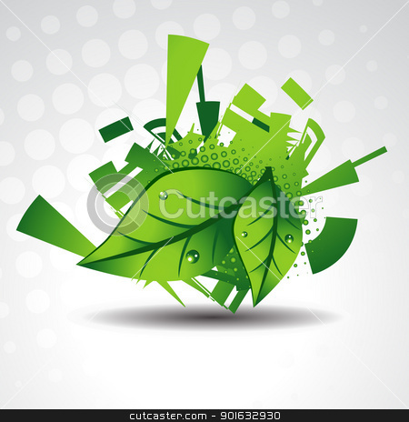 green leaves background stock vector clipart, vector green leaves on background by pinnacleanimates
