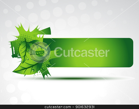 green leaves background stock vector clipart, vector green leaves on background with space for your text by pinnacleanimates
