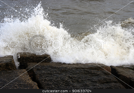 Ocean Waves stock photo, Ocean waves crashing onto some rocks by Kevin Tietz