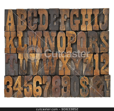 letters and numbers in vintage type stock photo, letters and numbers in vintage letterpress wood type - alphabet in French clarendon typeset by Marek Uliasz