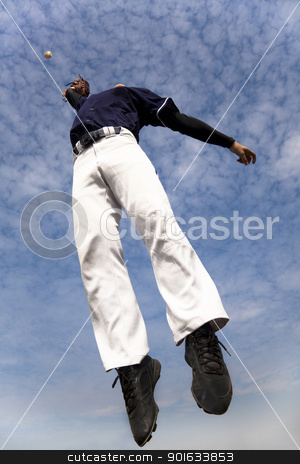 baseball player jumping and catching the ball stock photo, baseball player jumping and catching the ball by tomwang