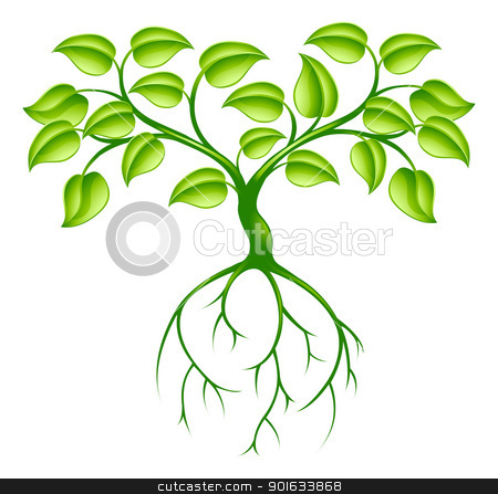 Green tree and roots stock vector clipart, Green tree graphic design concept with long roots by Christos Georghiou