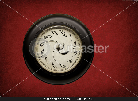time warp stock photo, clock with hands and numbers distorted on red grunge background by digitalreflections