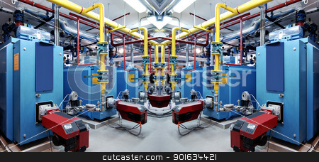 Interior of independent boiler room stock photo, Interior of independent modern gas boiler room equipment for heating system with manometers, valves, pumps and thermo-insulation on pipelines. Useful file for your site, brochure and annual report related to industrial heating or residential heating. by ifeelstock