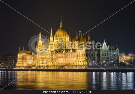 The Hungarian parliament lit up at night. stock photo, The beautiful historic Hungarian parliament lit up at night. by exvivo