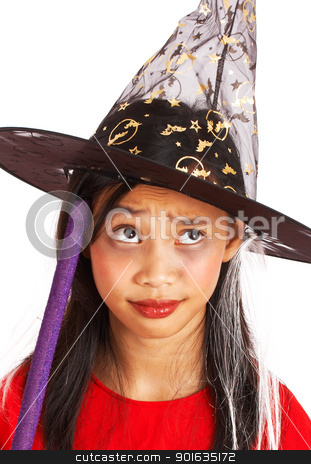 Witch Costume On A Small Girl stock photo, Small Girl In A Witch'S Costume For Halloween by stuartmiles