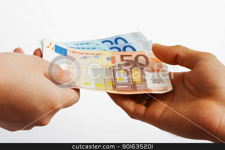 Buying Something In Euros Cash stock photo, One Person Giving Euros To Another Person by stuartmiles