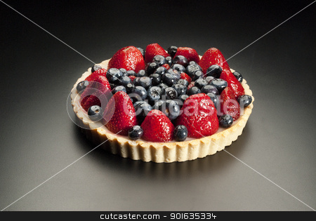 Fruit cake stock photo, dessert fruit cake with strawberries and blueberries by Christian Delbert