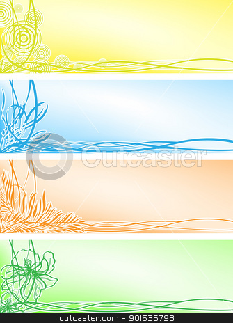 Set beautiful floral banners stock photo, Vector set from four beautiful floral banners by Imaster