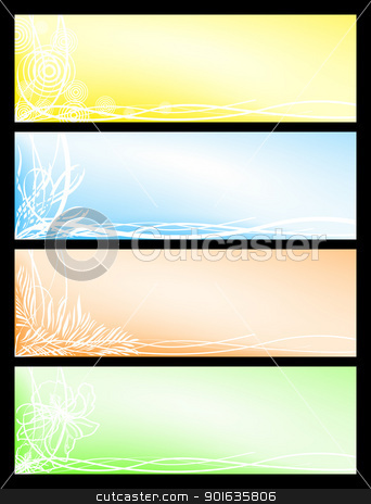 Set beautiful seasonal banners stock photo, Vector set from four beautiful floral seasonal banners by Imaster