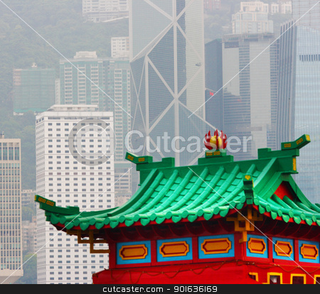 Hong Kong Old Pagoda And Skyscrapers stock photo, Hong Kong Old Pagoda And New Skyscrapers by stuartmiles