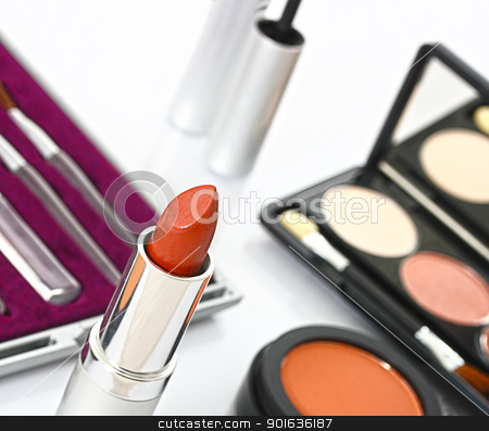 Make Up Set For Making Up A Woman's Face stock photo, Make Up Set Laid Out For Making Up A Woman's Face by stuartmiles