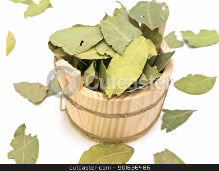 sauna vat  stock photo, wooden sauna vat and some bay leaves against white background by Sergej Razvodovskij