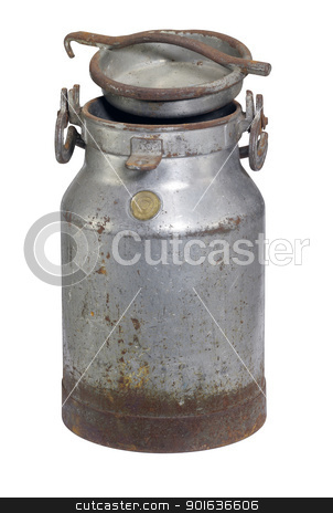 rusty nostalgic milk can stock photo, old nostalgic and corroded milk can with cap in white back by prill