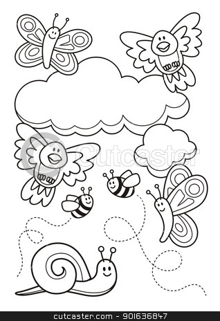 Baby animals coloring book stock vector clipart, A spring scene with baby animal cartoons, butterflies, birds, bee and a snail, line art for coloring book page. by fractal.gr