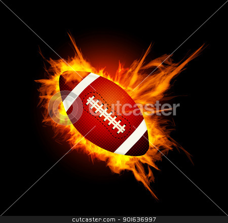 Realistic American football in the fire stock photo, Realistic American football in the fire on black by sermax55