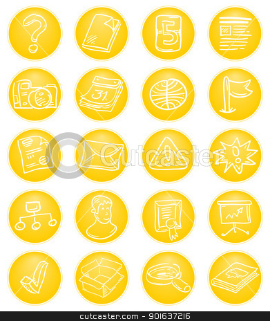 Yellow CMS icons stock vector clipart, Content Management System Icon set in yellow tones by Vitezslav Valka