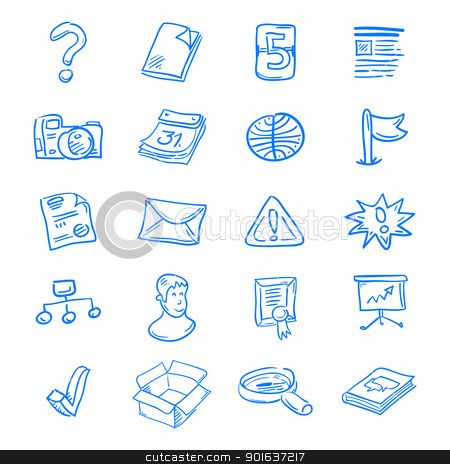 Blue web icons stock vector clipart, Handdrawn blue web icon set on white background by Vitezslav Valka