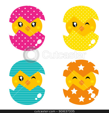 Retro happy chicken in egg shell isolated on white stock vector clipart, Cute collection of spring chicken in eggs. Vector by Jana Guothova