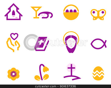 Easter and christianity icon set isolated on white ( purple ) stock vector clipart, Stylized easter and christian icons. Vector by Jana Guothova