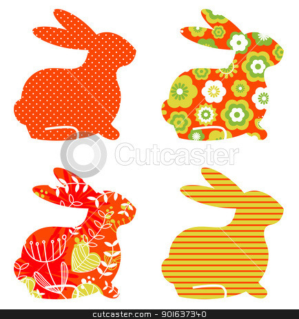 Abstract floral bunnies set isolated on white stock vector clipart, Easter abstract bunny collection. Vector by Jana Guothova