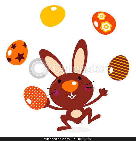 Cute jumping bunny juggling with eggs stock vector clipart, Brown bunny with easter eggs. Vector cartoon by BEEANDGLOW