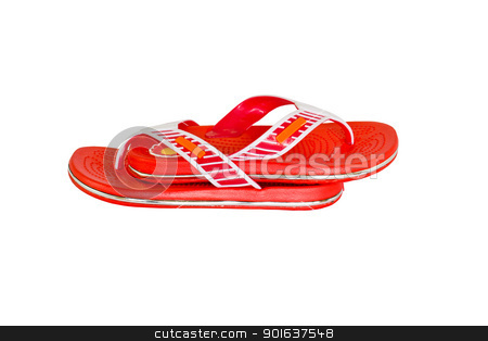 Orange flip-flops 1 stock photo, Orange flip-flops  on a white background by stoonn
