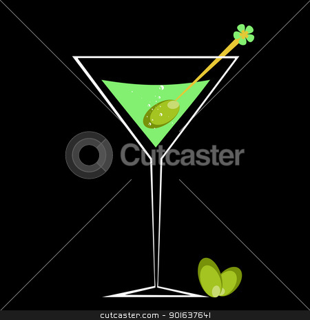 Cocktail and Olive stock vector clipart, Cocktail and olive isolated on black background by Ingvar Bjork
