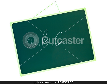 school blackboard with a b c stock photo, green school blackboard with letters a b c  by Sergej Razvodovskij