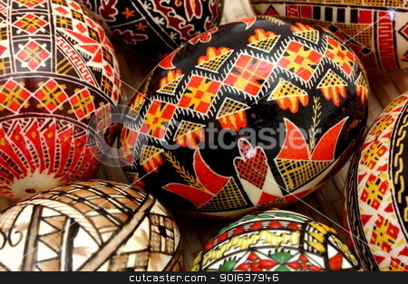 hand painted eggs stock photo, traditional hand painter eggs in a trellis basket by coroiu octavian