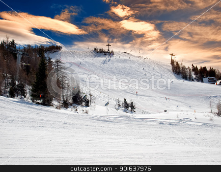 Ski resort stock photo, Panorama of a modern ski resort somewhere in Europe. by Sinisa Botas