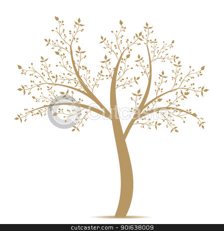 Olive Tree stock vector clipart, Olive tree isolated on white background by Ingvar Bjork