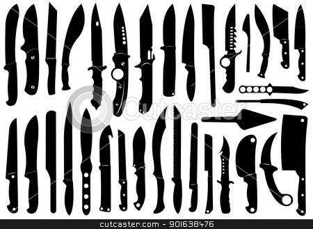 Knifes set stock vector clipart, Knifes set isolated on white by Ioana Martalogu