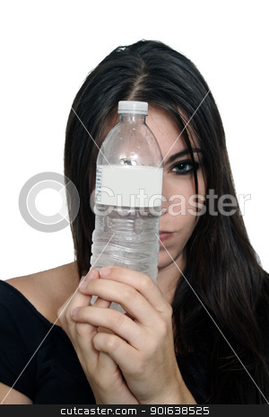 Pretty Brunette with Bottled Water (4) stock photo, A close-up of a lovely, glamorous, young brunette holding a bottle of water in front of her face.  The label on the bottle offers blank space for your text or graphics. by Carl Stewart