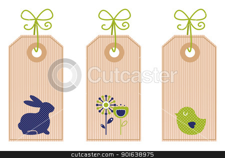Retro easter labels isolated on white stock vector clipart, Easter labels collection. Vector by Jana Guothova
