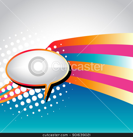 vector speech bubble stock vector clipart, vector speech bubble with colorful wave background by pinnacleanimates
