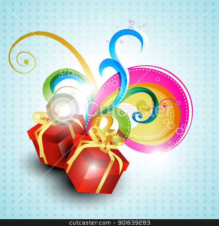 vector gift box stock vector clipart, vector gift box on beautiful background by pinnacleanimates