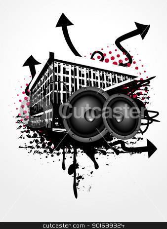 Grunge music art stock vector clipart, grunge vector music art background by pinnacleanimates