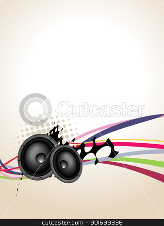 Grunge speaker music art stock vector clipart, grunge vector speaker music art background by pinnacleanimates