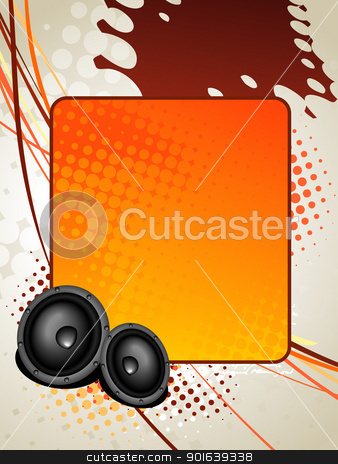 speaker music art stock vector clipart, vector speaker music art background with space for text by pinnacleanimates