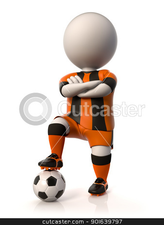Soccer player stock photo, A soccer player stepping on a ball with arms crossed by JAlcaraz