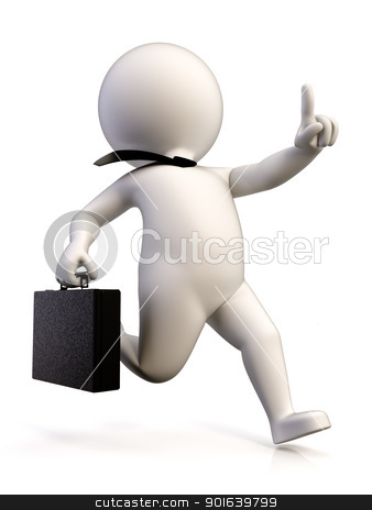 Business runner stock photo, A businessman in a hurry to get to work, carrying a briefcase by JAlcaraz