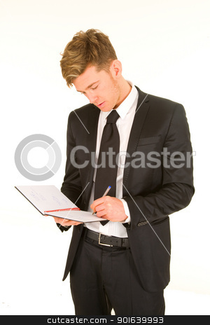 businessman taking notes stock photo, businessman taking notes by ambrophoto