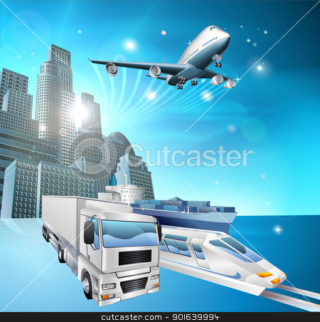 Logistics city concept stock vector clipart, Illustration of transport vehicles and city with blue background. Logistics or delivery concept  by Christos Georghiou