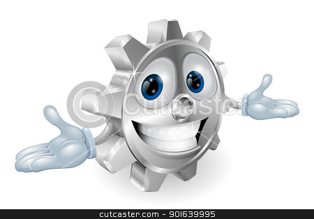Cog cartoon character  stock vector clipart, Illustration of a cute cartoon cog gear character by Christos Georghiou