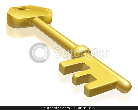 Brass or gold key illustration stock vector clipart, An illustration of a brass or gold key with reflection by Christos Georghiou