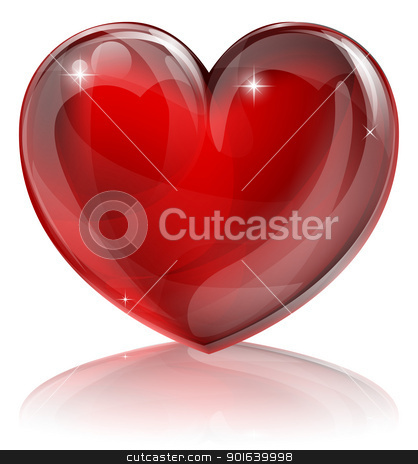 Red heart illustration stock vector clipart, An illustration of a bright shiny red heart shaped symbol by Christos Georghiou